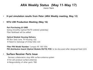 ARA Weekly Status  (May  11-May 17) Jiwoo  Nam