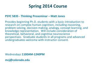 Spring 2014 Course