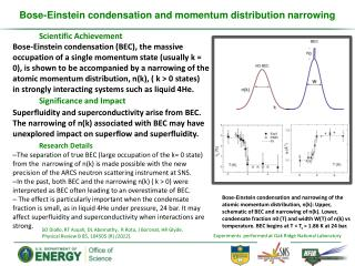 Bose-Einstein condensation and momentum distribution narrowing