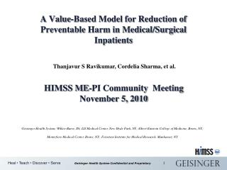 A Value-Based Model for Reduction of Preventable Harm in Medical/Surgical Inpatients