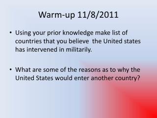 Warm-up 11/8/2011