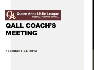 QALL Coach's Meeting