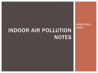 Indoor Air Pollution Notes