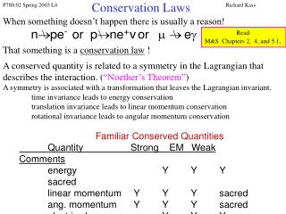 Conservation Laws
