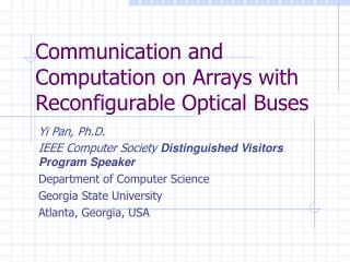 Communication and Computation on Arrays with Reconfigurable Optical Buses