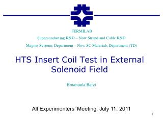 HTS Insert Coil Test in External Solenoid Field