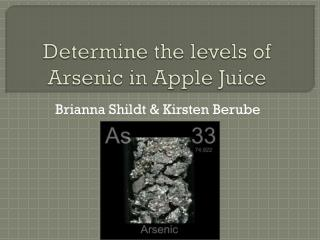 Determine the levels of Arsenic in Apple Juice