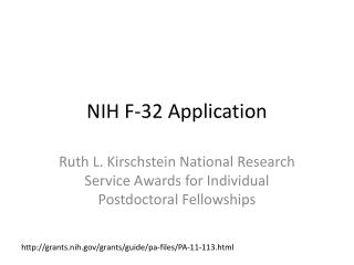 NIH  F-32  Application
