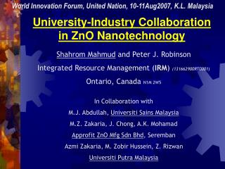 University-Industry Collaboration in ZnO Nanotechnology