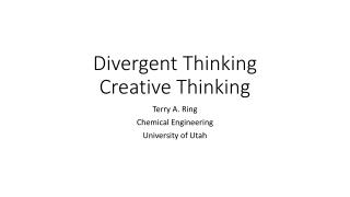 Divergent Thinking Creative Thinking