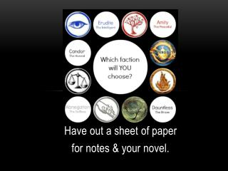 Have out a sheet of paper  for notes & your novel.