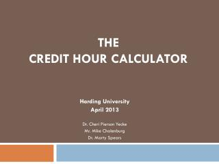 The  Credit Hour Calculator