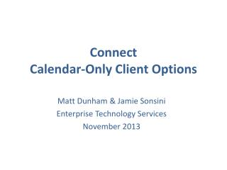 Connect Calendar-Only Client Options