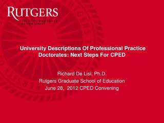 University Descriptions Of Professional Practice Doctorates: Next Steps For CPED