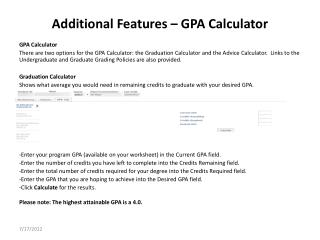 Additional Features � GPA Calculator