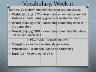 Vocabulary, Week 11