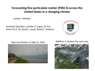 Forecasting fine particulate matter (PM2.5) across the United States in a changing climate