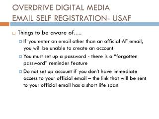 OVERDRIVE DIGITAL MEDIA EMAIL SELF REGISTRATION- USAF