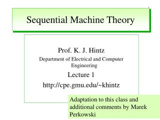 Sequential Machine Theory
