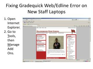 Fixing  Gradequick  Web/ Edline  Error on New Staff Laptops