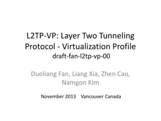 L2TP-VP: Layer Two Tunneling Protocol - Virtualization Profile   draft-fan-l2tp-vp-00