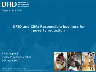 DFID and CSR: Responsible business for poverty reduction