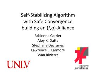 Self-Stabilizing Algorithm  with  S afe  C onvergence  building an ( f , g )-Alliance