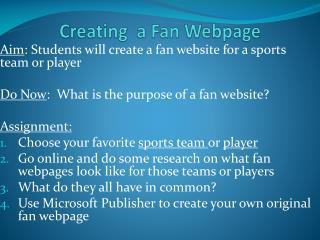Creating  a Fan Webpage