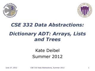 CSE 332 Data Abstractions: Dictionary ADT : Arrays, Lists and  Trees