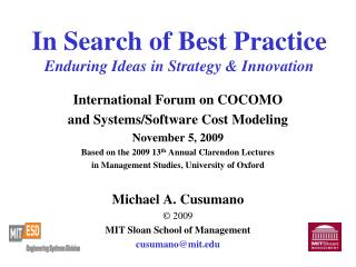 In Search of Best Practice