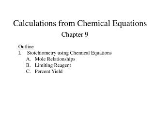 Calculations from Chemical Equations