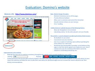 Evaluation: Domino's website