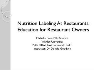 Nutrition Labeling At Restaurants: Education for Restaurant Owners