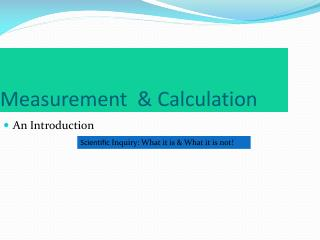 Measurement  & Calculation