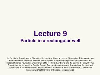 Lecture 9 Particle in a rectangular well