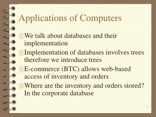 Applications of Computers