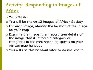 Activity: Responding to Images of Africa