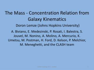The Mass - Concentration Relation from Galaxy Kinematics