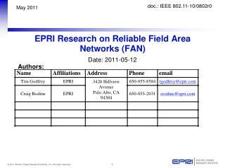 EPRI Research on Reliable Field Area Networks (FAN)
