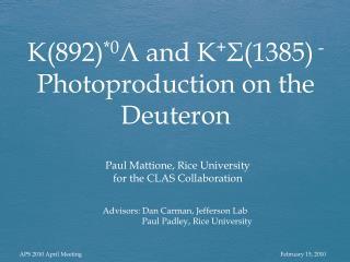 Advisors: Dan Carman, Jefferson Lab                   Paul  Padley , Rice University