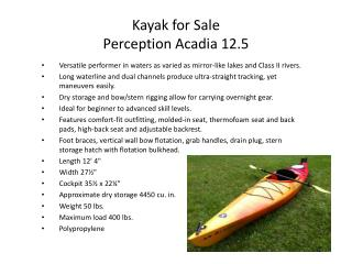 Kayak for Sale Perception Acadia 12.5