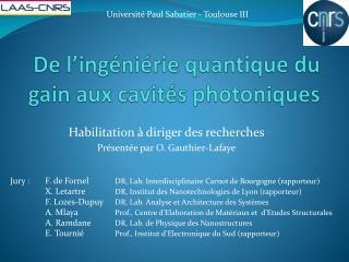De l' ingéniérie  quantique du gain aux cavités photoniques