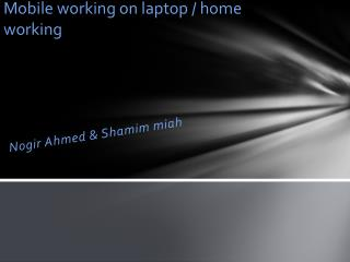 Mobile working on laptop / home working