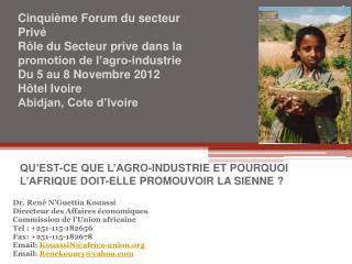 Dr. René N' Guettia Kouassi Directeur des Affaires économiques Commission de l'Union africaine