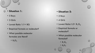 Situation 1: 3 Boys 3 Girls Lowest Ratio 1:1= BG Empirical formula or molecular?