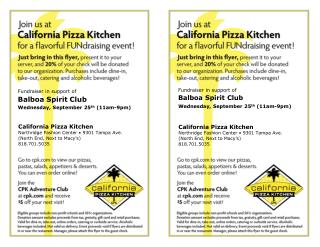 Fundraiser in support of Balboa  Spirit Club  Wednesday, September 25 th  (11am-9pm)