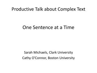 Productive Talk about Complex Text