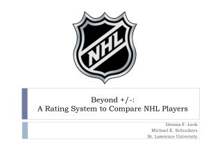 Beyond +/-:  A Rating System to Compare NHL Players