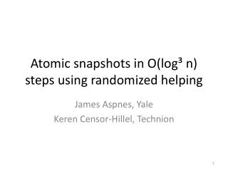 Atomic snapshots in  O (log³ n) steps using randomized helping