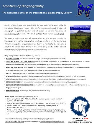 Frontiers of Biogeography    The  scientific journal of the International Biogeography Society